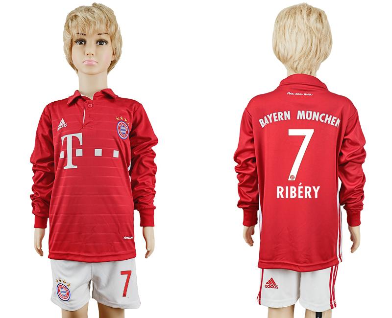 2016-17 Bayern Munich 7 RIBERY Youth Long Sleeve Soccer Jersey