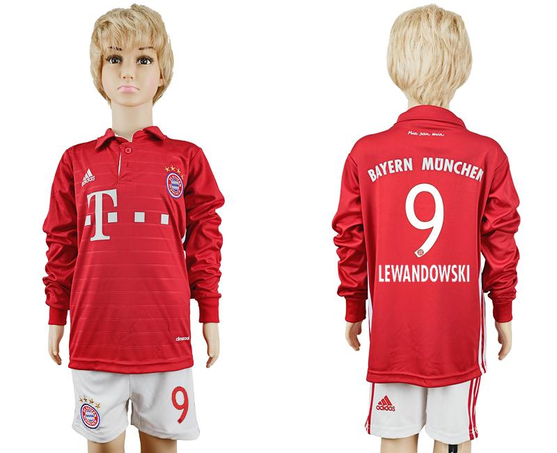 2016-17 Bayern Munich 9 LEWANDOWSKI Youth Long Sleeve Soccer Jersey
