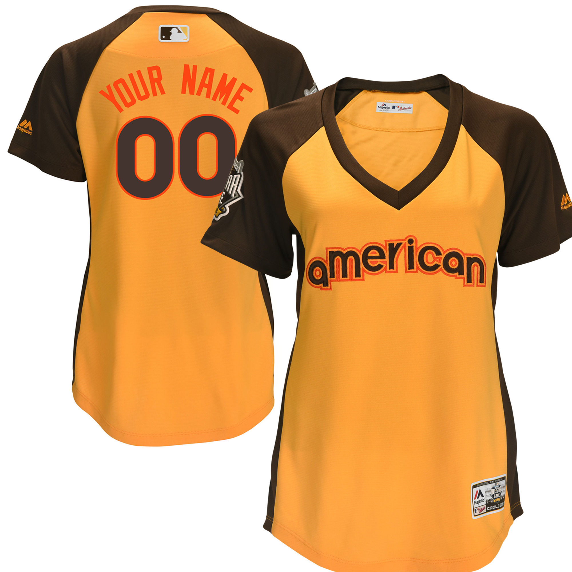 American League Yellow Women 2016 All-Star Game Cool Base Batting Practice Player Customized Jersey