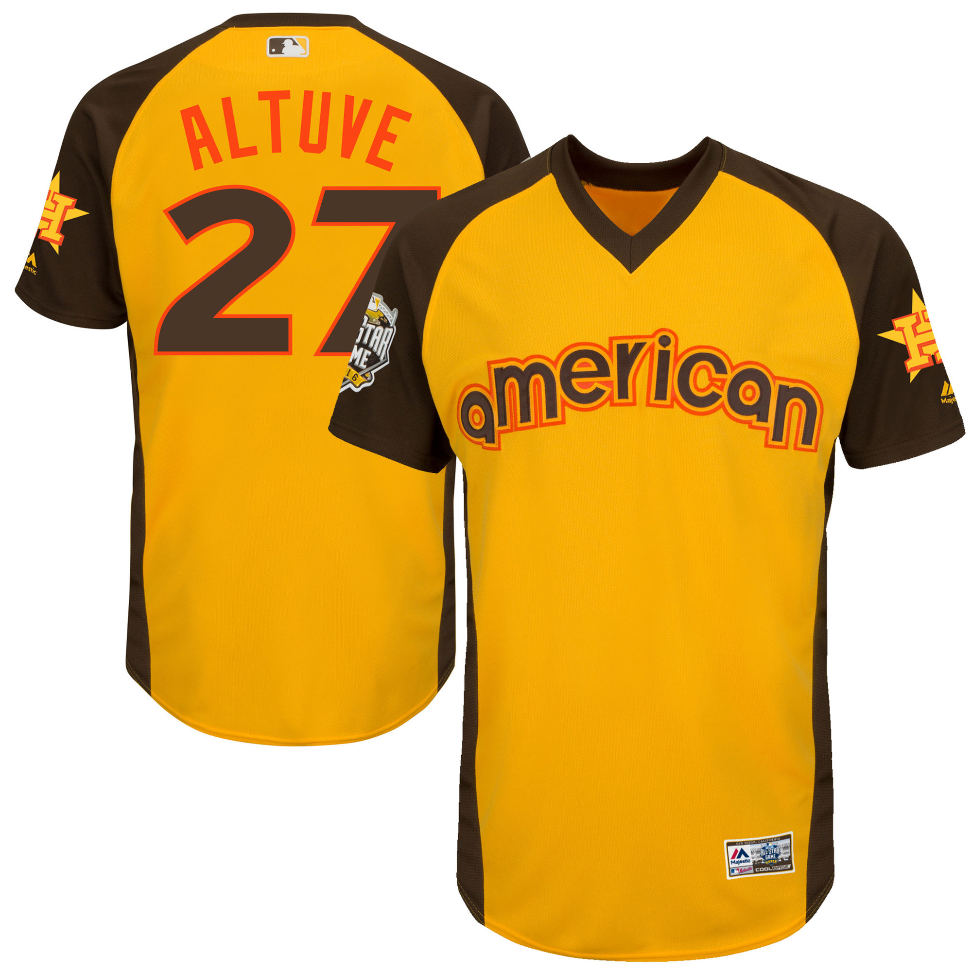 Angels 27 Mike Trout Yellow Youth 2016 All-Star Game Cool Base Batting Practice Player Jersey