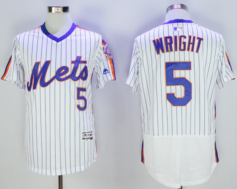 Mets 5 David Wright White Cooperstown Collection Flexbase Jersey