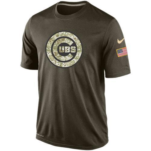 Nike Chicago Cubs Olive Green Salute To Service Dri Fit Men's T-Shirt