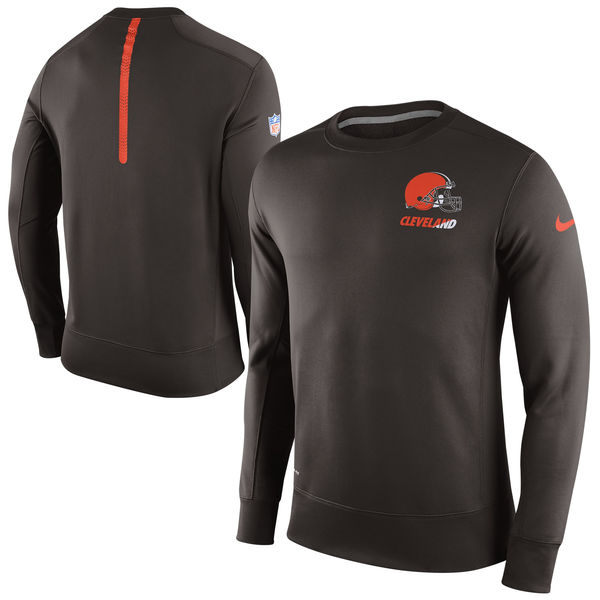 Nike Cleveland Browns Brown 2015 Sideline Crew Fleece Performance Sweatshirt