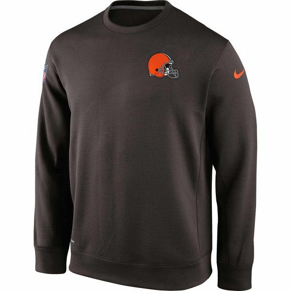 Nike Cleveland Browns Brown Ko Chain Crew Fleece Performance Sweatshirt