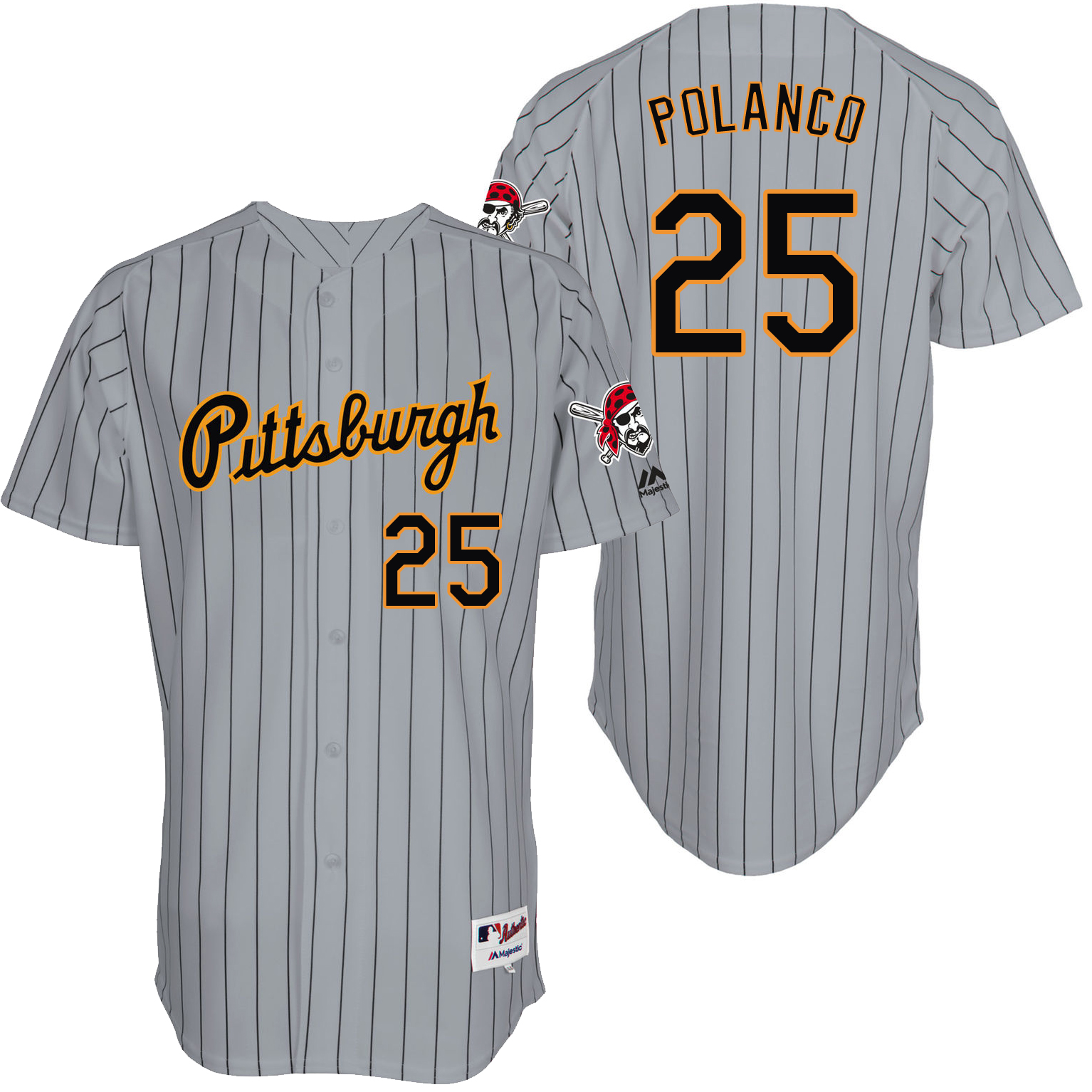 Pirates 25 Gregory Polanco Grey Throwback Jersey