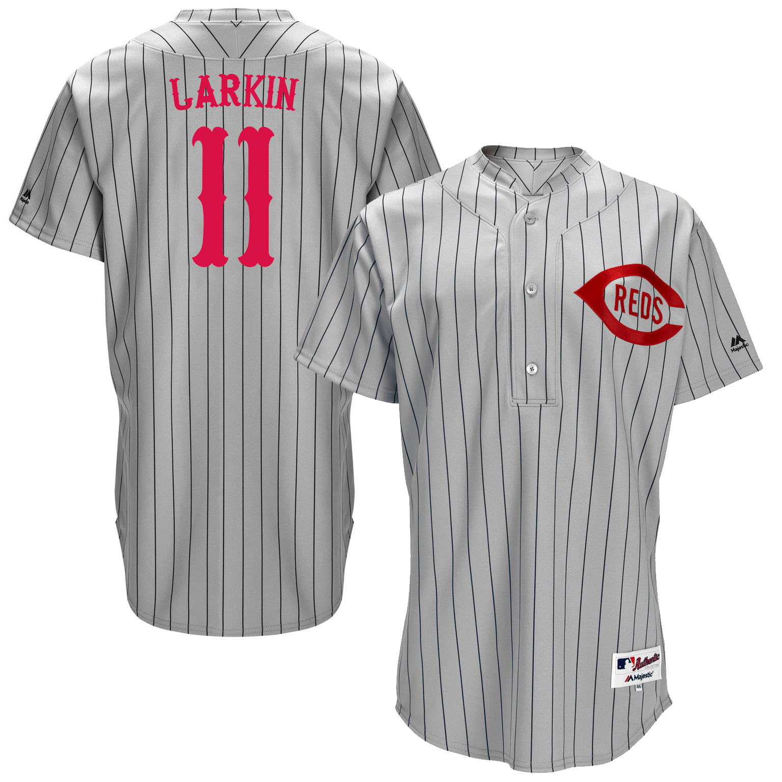 Reds 11 Barry Larkin Grey Throwback Jersey