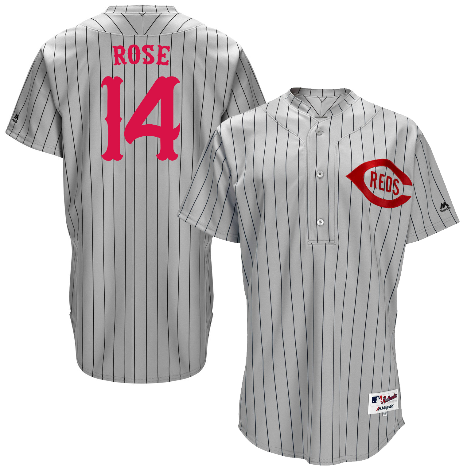 Reds 14 Pete Rose Grey Throwback Jersey
