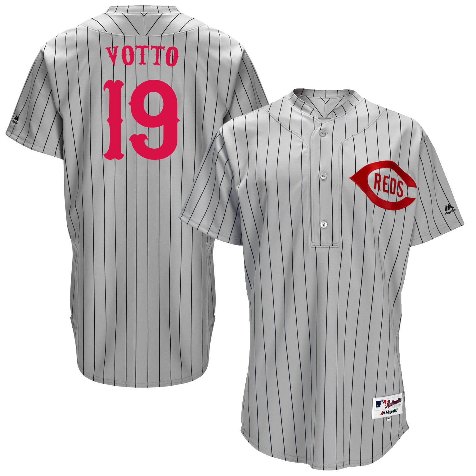 Reds 19 Joey Votto Grey Throwback Jersey