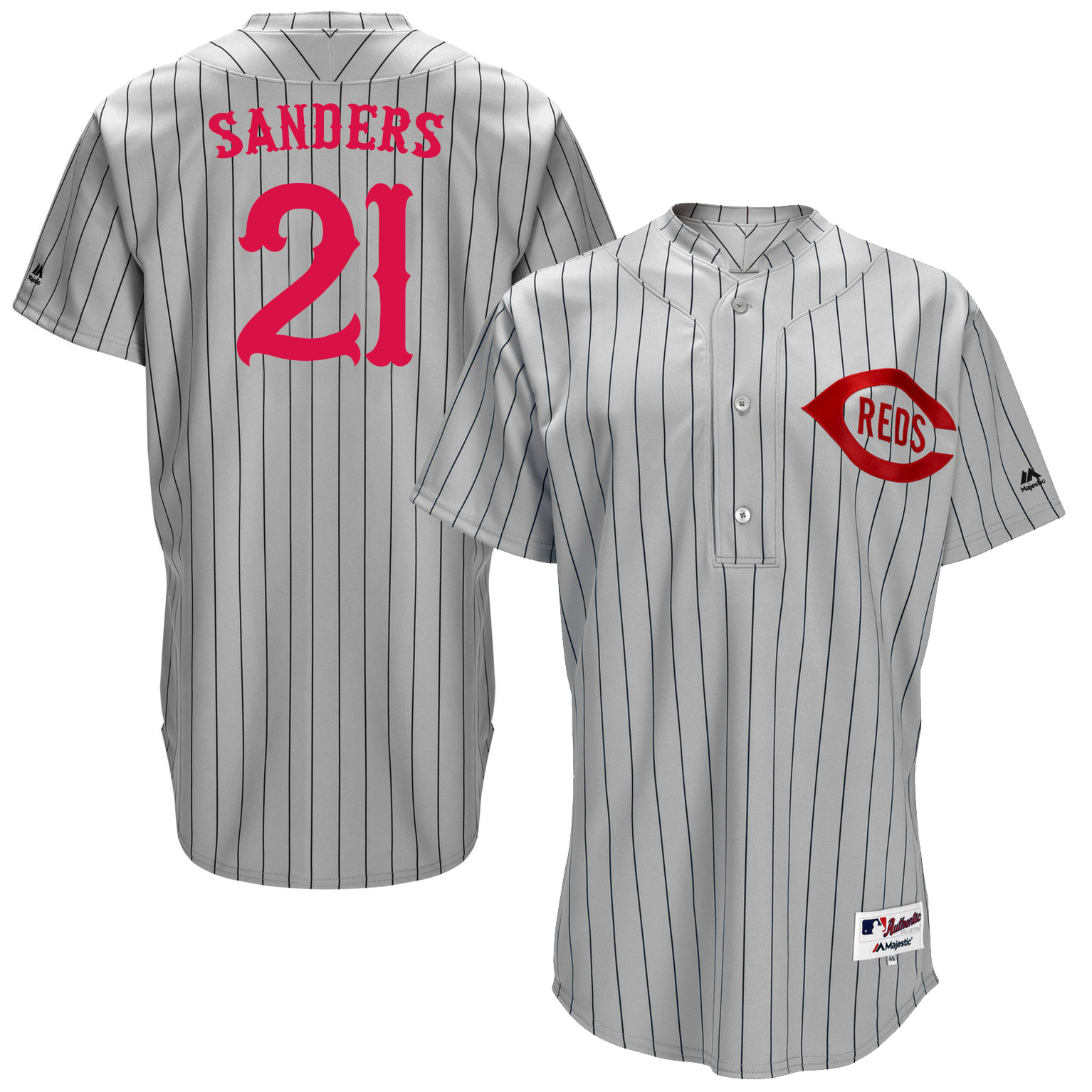 Reds 21 Deion Sanders Grey Throwback Jersey
