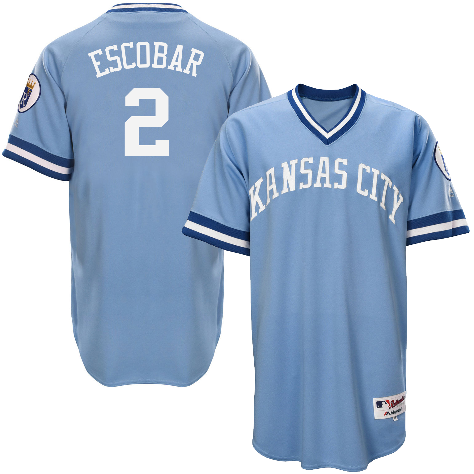 Royals 2 Alcides Escobar Light Blue Throwback Jersey