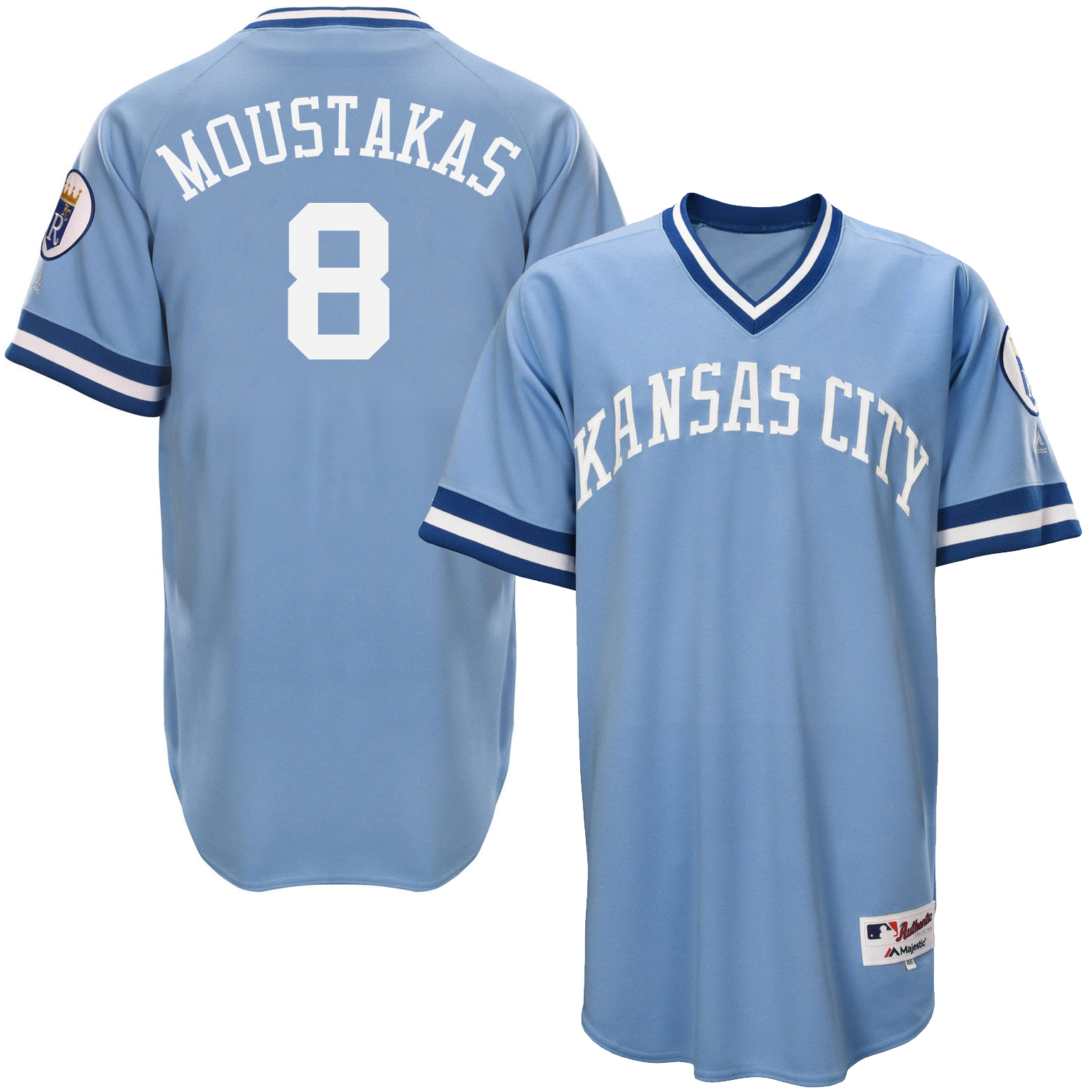 Royals 8 Mike Moustakas Light Blue Throwback Jersey