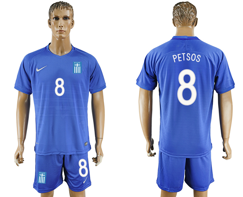 2016-17 Greece 8 PETSOS Away Soccer Jersey