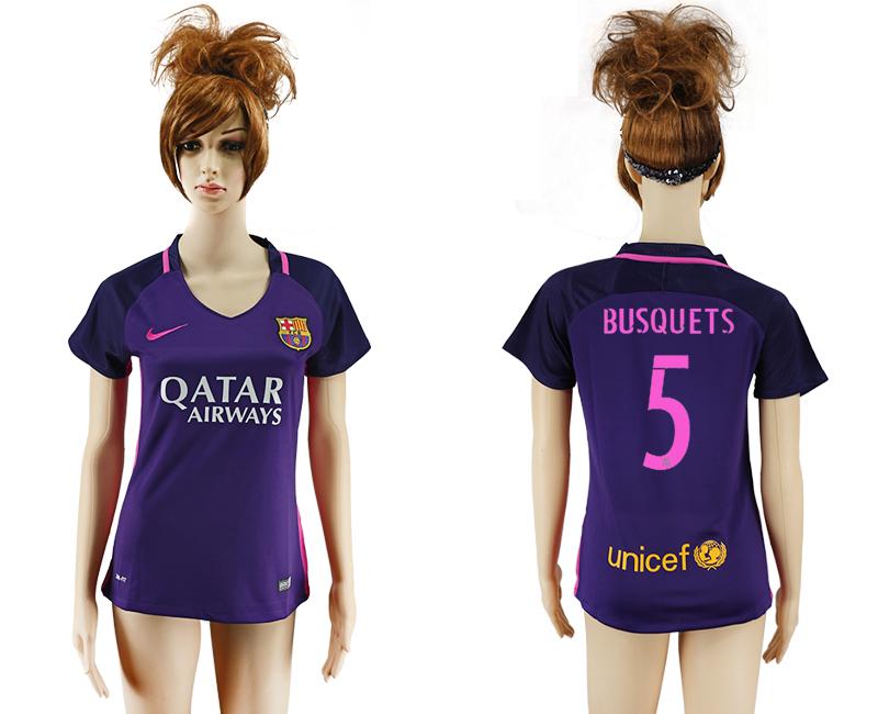 2016-17 Barcelona 5 BUSQUETS Away Women Soccer Jersey