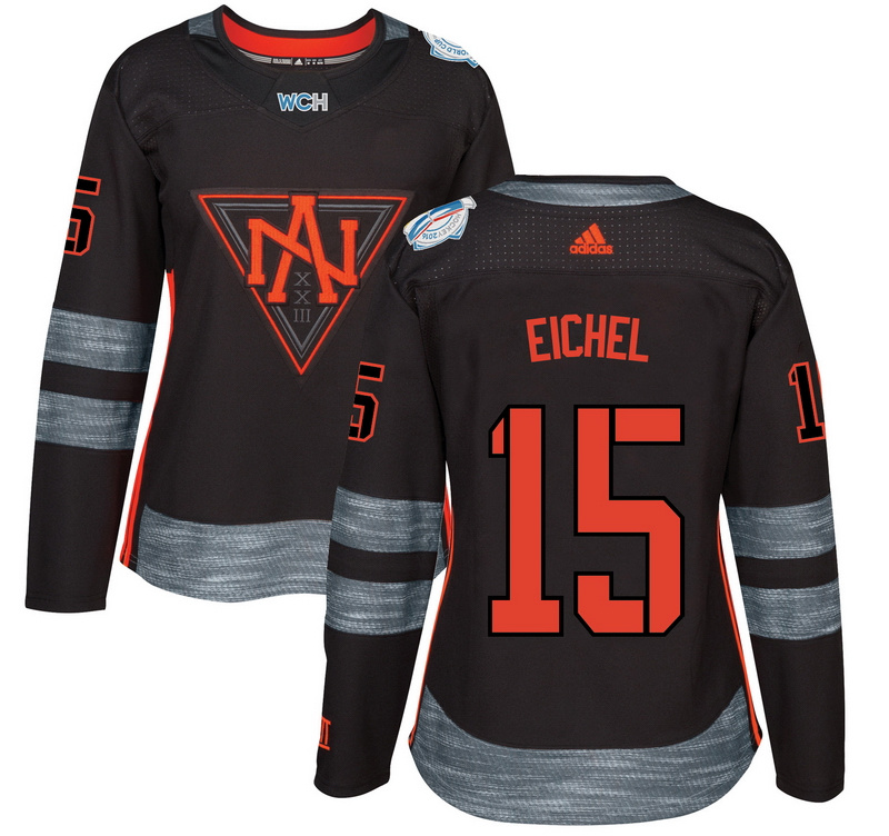 North America 15 Jack Eichel Black Women World Cup of Hockey 2016 Player Jersey