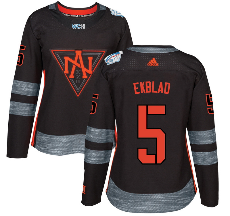 North America 5 Aaron Ekblad Black Women World Cup of Hockey 2016 Player Jersey
