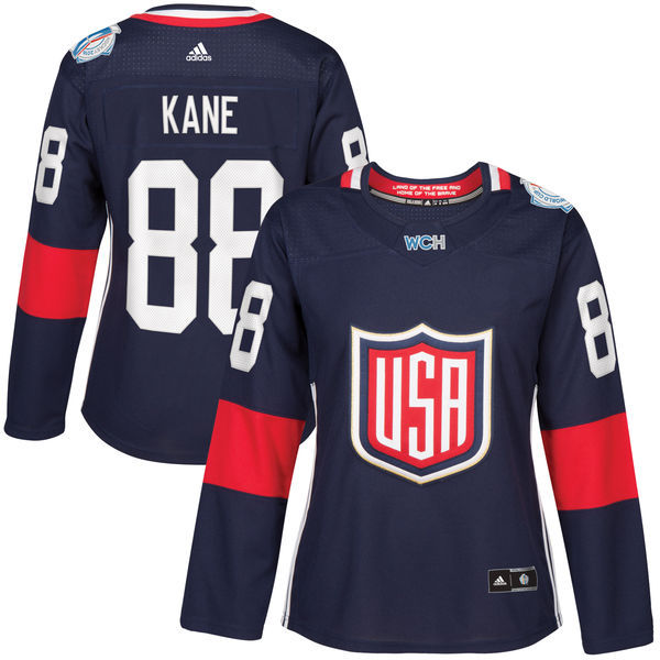 USA 88 Patrick Kane Navy Women 2016 World Cup of Hockey Player Jersey