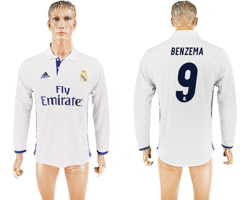 2016-17 Real Madrid 9 BENZEMA Home Long Sleeve Thailand Soccer Jersey