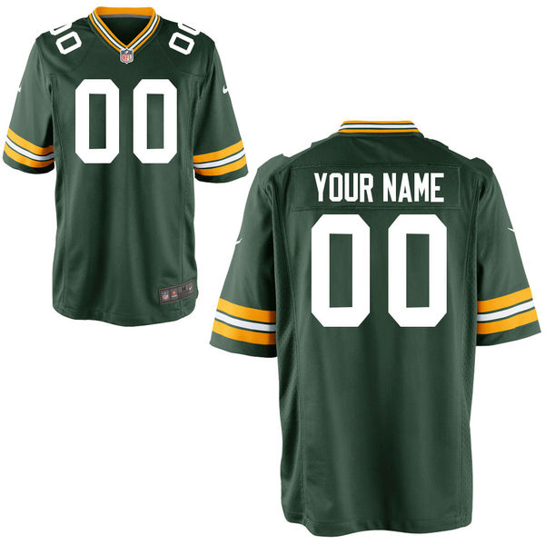 Nike Green Bay Packers Green Youth Game Customized Jersey