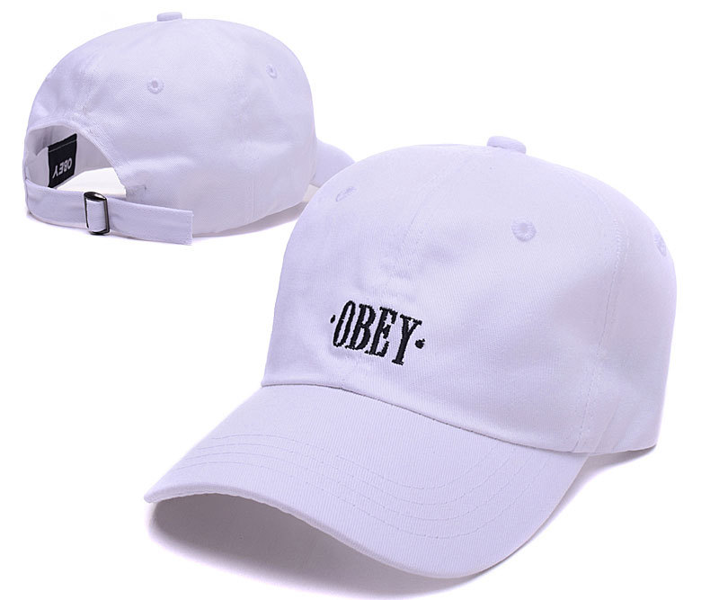 Obey Brand Logo White Adjustable Hat LH