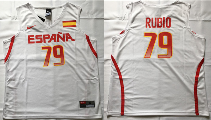 Spain Basketball 79 Ricky Rubio White Nike Rio Elite Stitched Jersey