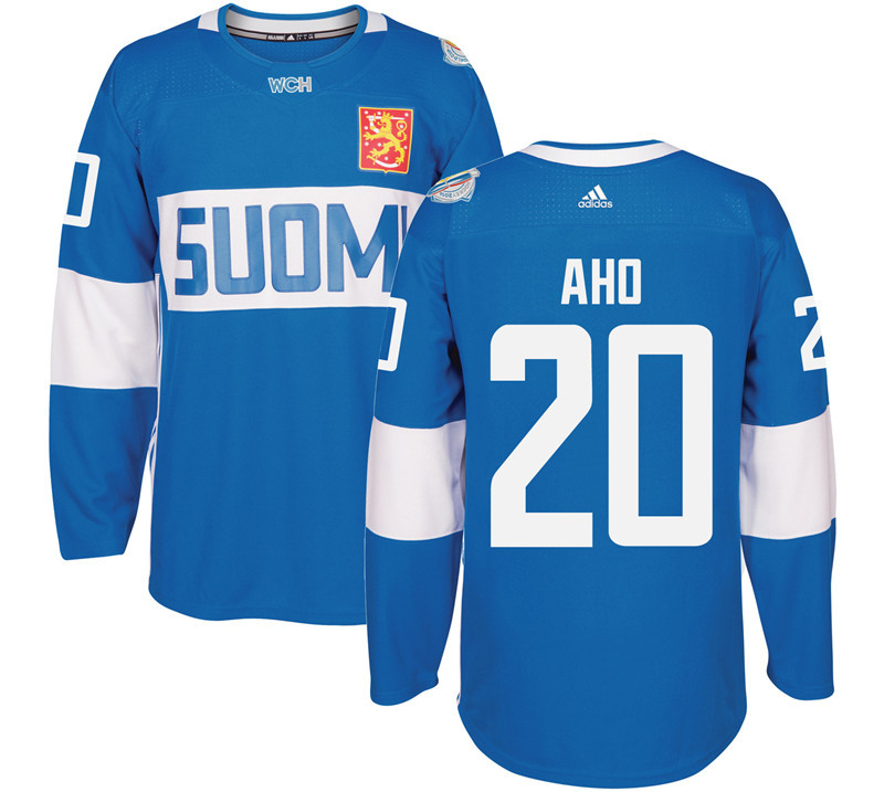 Finland 20 Sebastian Aho Blue 2016 World Cup Of Hockey Premier Player Jersey