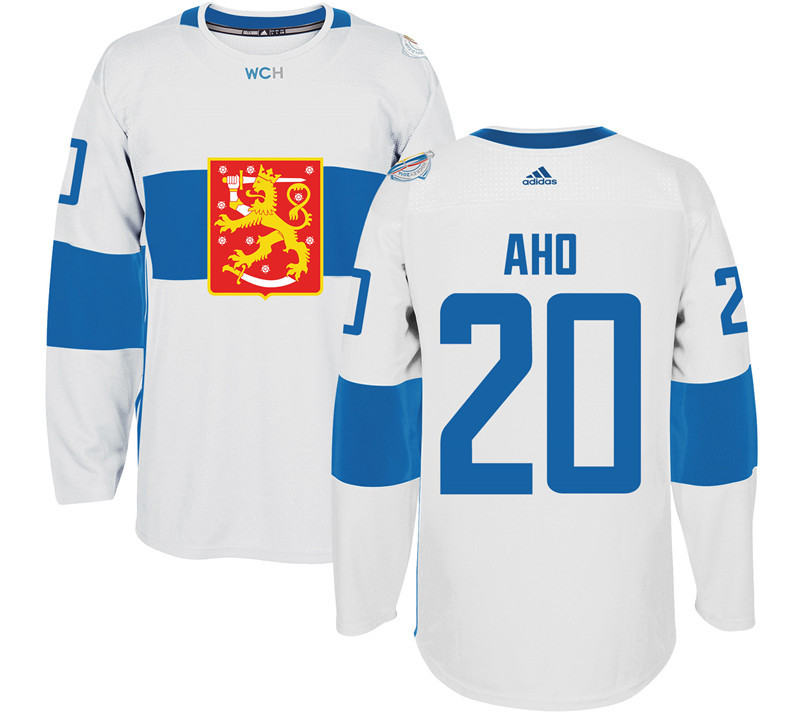 Finland 20 Sebastian Aho White 2016 World Cup Of Hockey Premier Player Jersey