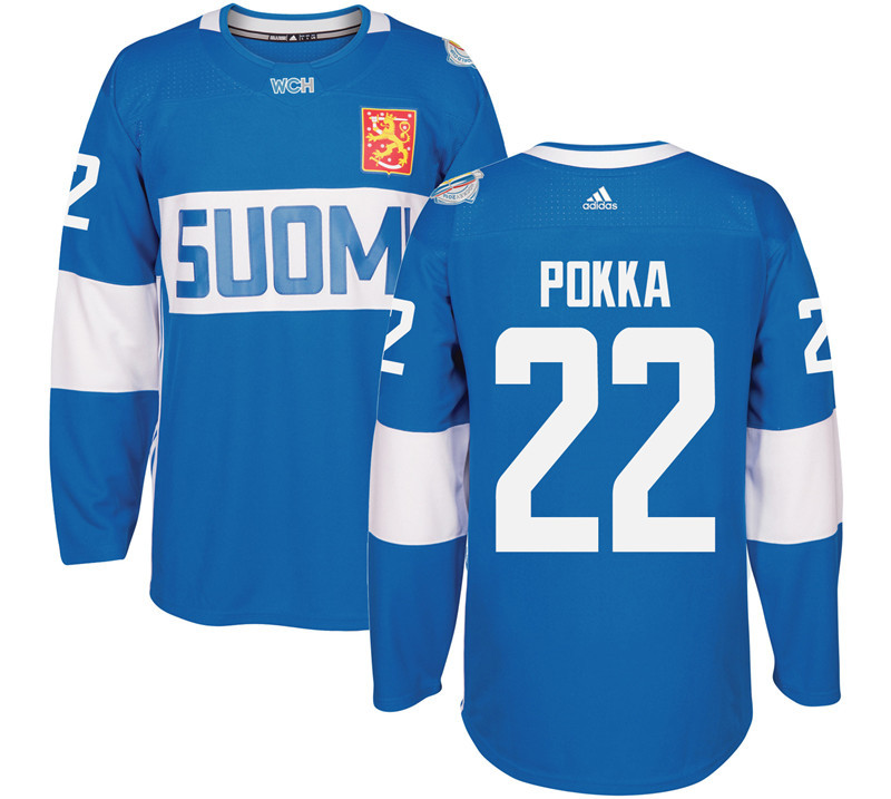 Finland 22 Ville Pokka Blue 2016 World Cup Of Hockey Premier Player Jersey