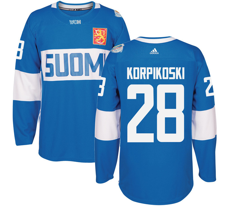Finland 28 Lauri Korpikoski Blue 2016 World Cup Of Hockey Premier Player Jersey