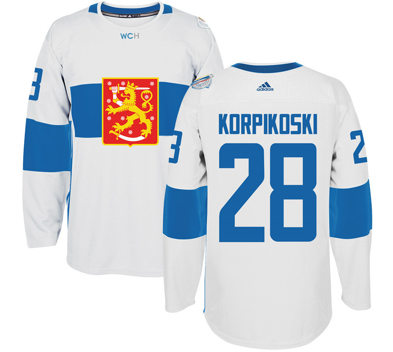 Finland 28 Lauri Korpikoski White 2016 World Cup Of Hockey Premier Player Jersey