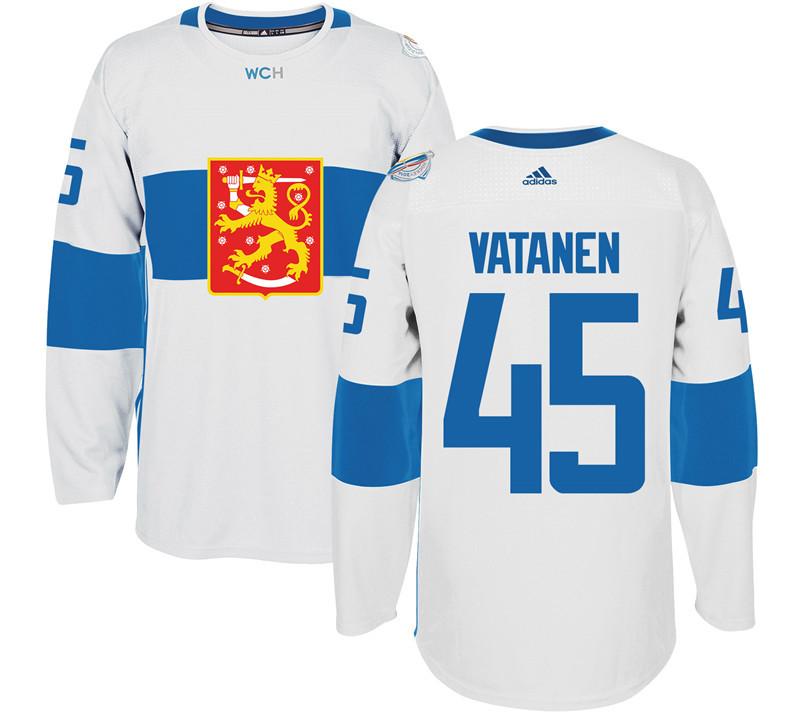 Finland 45 Sami Vatanen White 2016 World Cup Of Hockey Premier Player Jersey