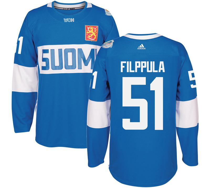Finland 51 Valtteri Filppula Blue 2016 World Cup Of Hockey Premier Player Jersey