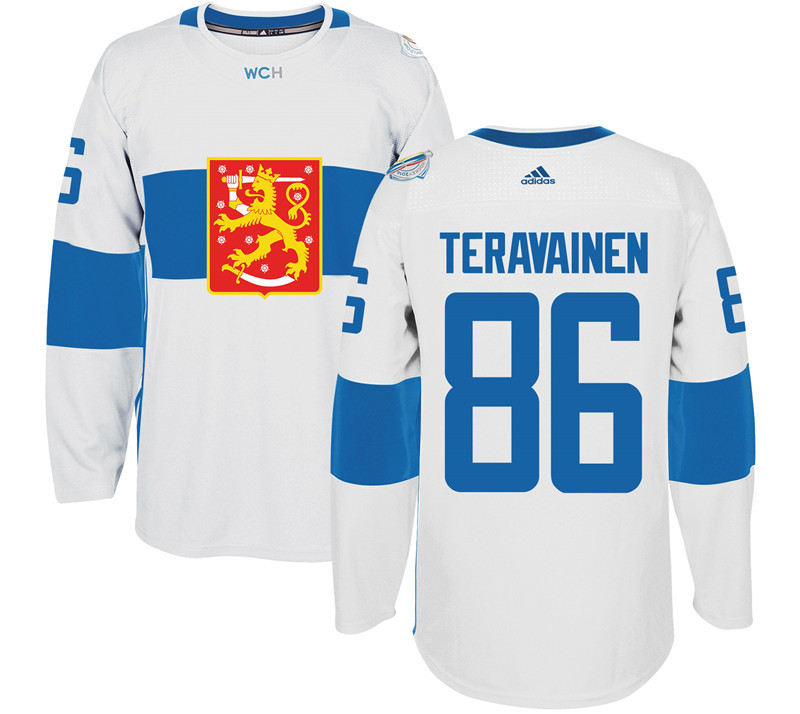 Finland 86 Teuvo Teravainen White 2016 World Cup Of Hockey Premier Player Jersey