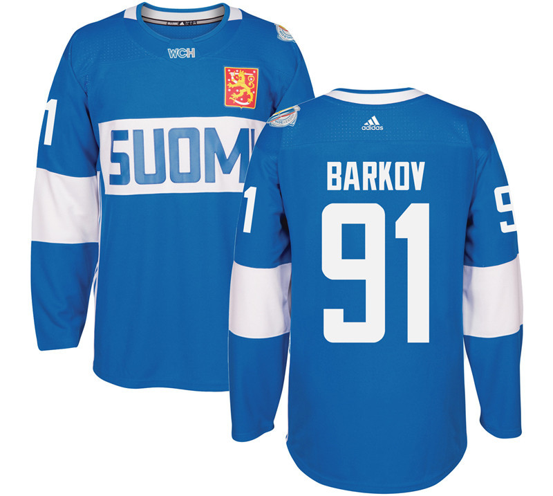 Finland 91 Aleksander Barkov Blue 2016 World Cup Of Hockey Premier Player Jersey