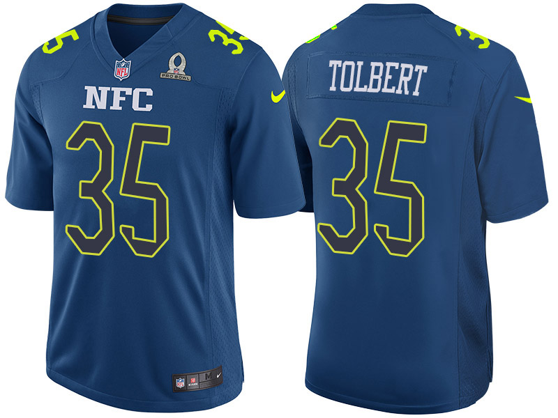 Nike Panthers 35 Mike Tolbert Navy 2017 Pro Bowl Game Jersey