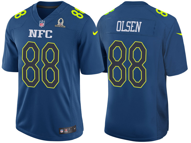 Nike Panthers 88 Greg Olsen Navy 2017 Pro Bowl Game Jersey