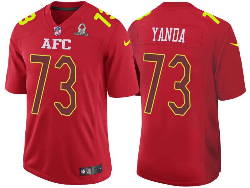 Nike Ravens 73 Marshall Yanda Red 2017 Pro Bowl Game Jersey