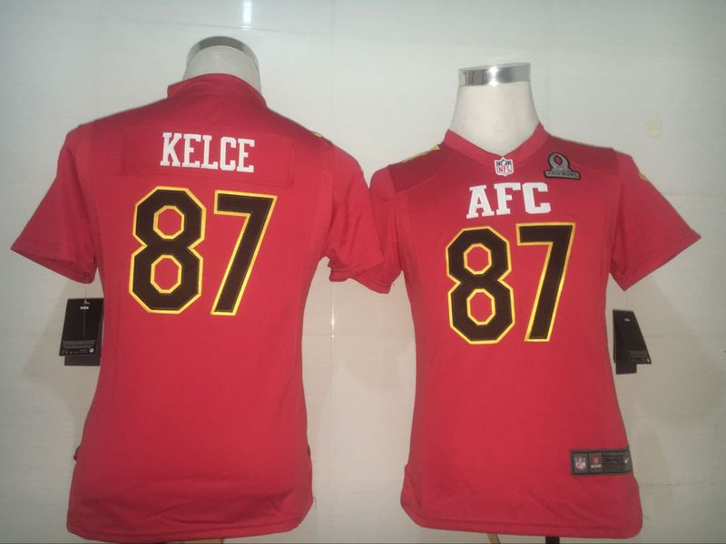 Nike Chiefs 87 Travis Kelce Red 2017 Pro Bowl Women Game Jersey