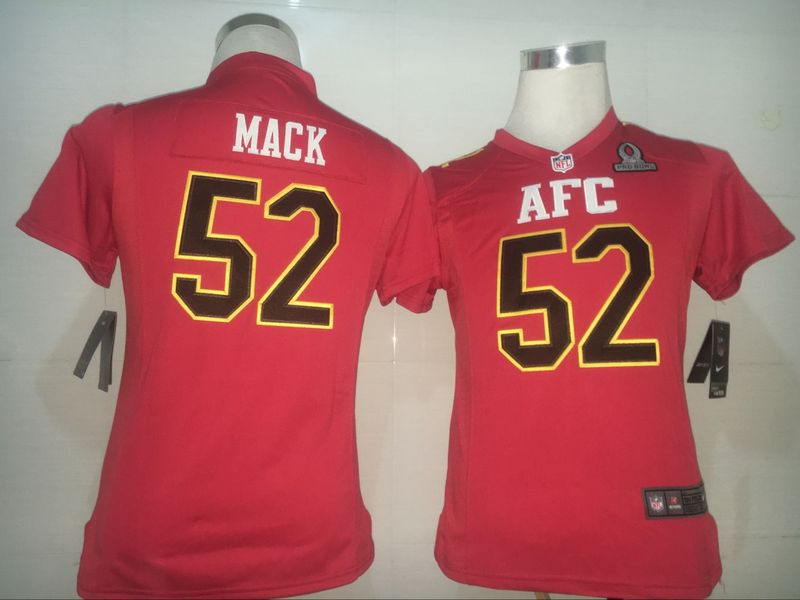 Nike Raiders 52 Khalil Mack Red 2017 Pro Bowl Women Game Jersey