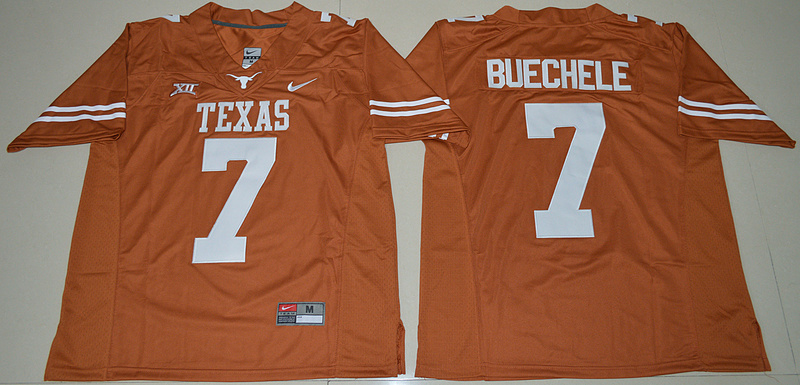 Texas Longhorns 7 Shane Buechele Orange Nike College Jersey