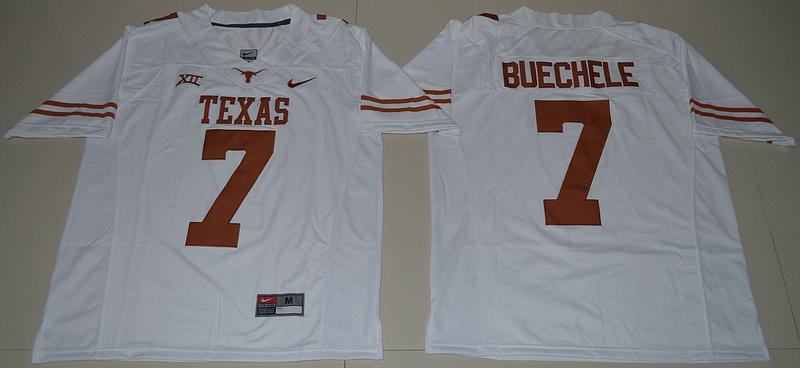 Texas Longhorns 7 Shane Buechele White Nike College Jersey