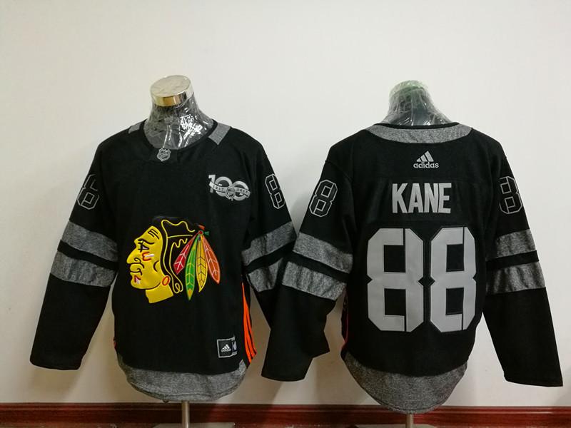 Blackhawks 88 Patrick Kane Black 1917-2017 100th Anniversary Adidas Jersey