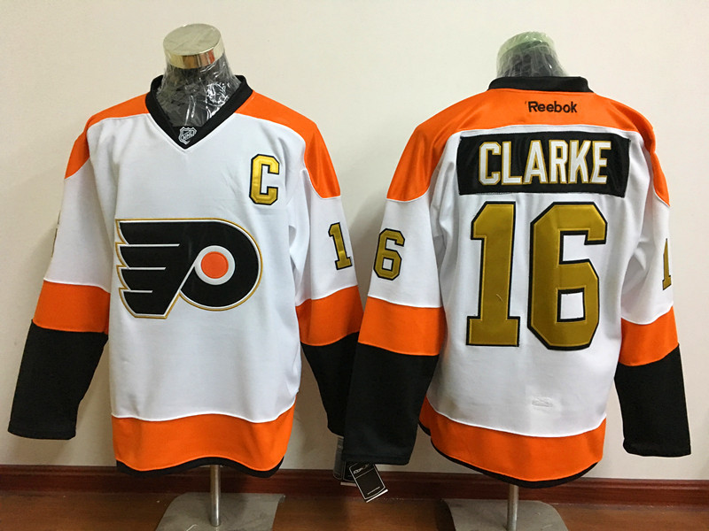 Flyers 16 Bobby Clarke White With 50th Anniversary Patch Reebok Jersey