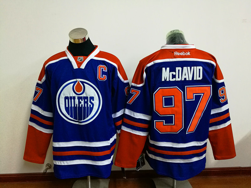 Oilers 97 Connor McDavid Blue C Patch Reebok Jersey