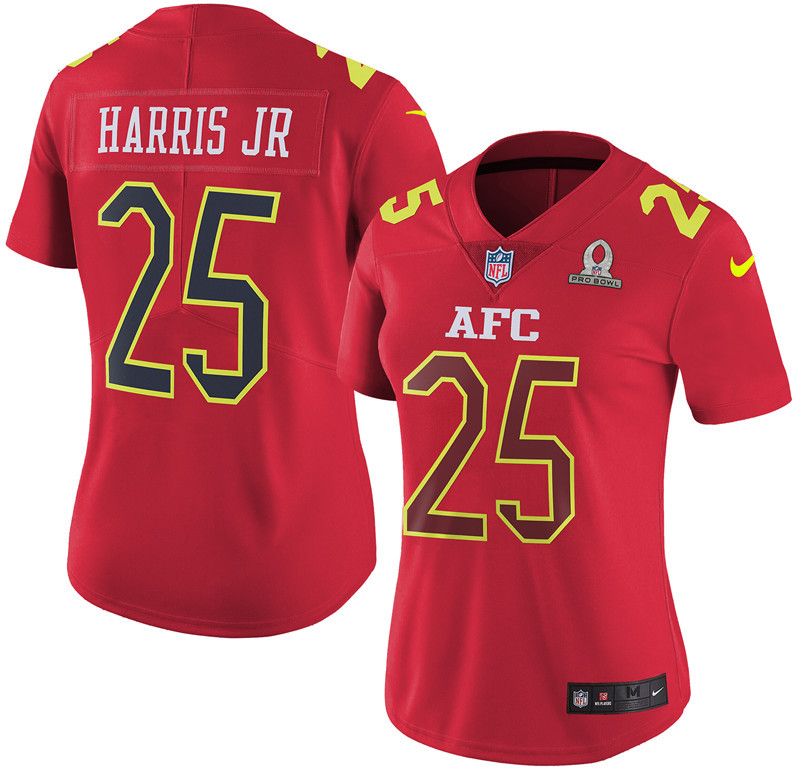 Nike Broncos 25 Chris Harris Jr Red 2017 Pro Bowl Women Game Jersey