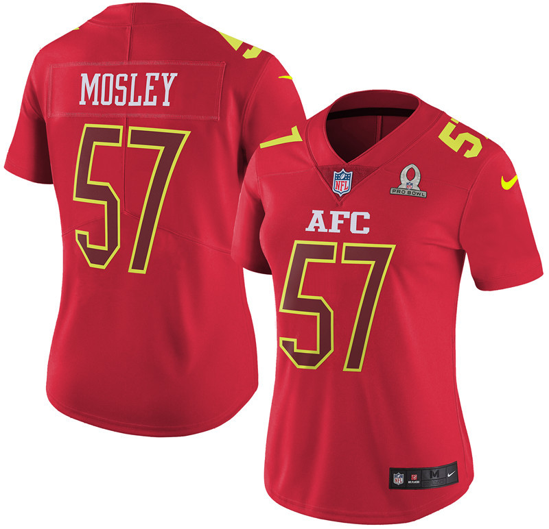 Nike Ravens 57 C.J. Mosley Red 2017 Pro Bowl Women Game Jersey