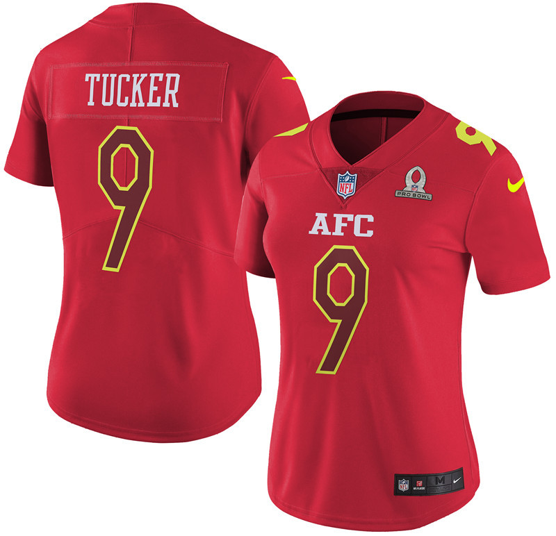 Nike Ravens 9 Justin Tucker Red 2017 Pro Bowl Women Game Jersey