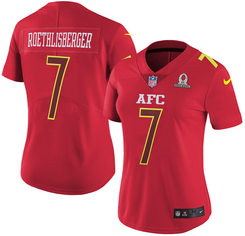 Nike Steelers 7 Ben Roethlisberger Red 2017 Pro Bowl Women Game Jersey