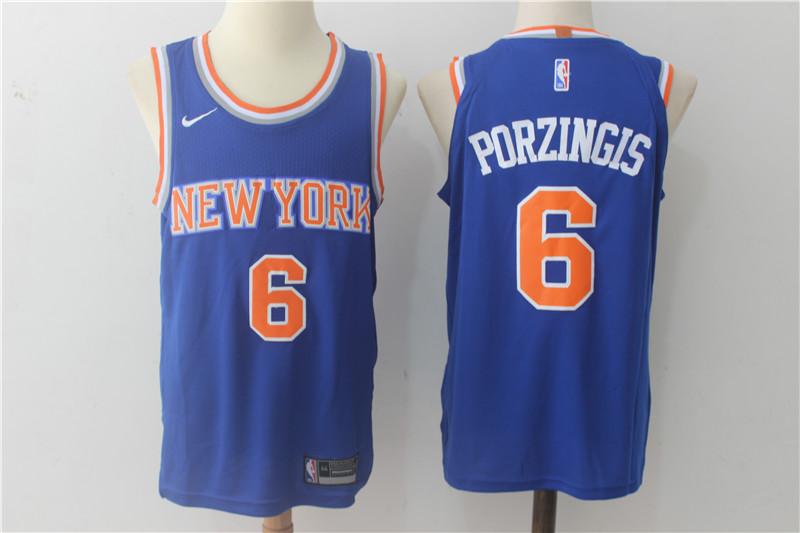 Knicks 6 Kristaps Porzingis Blue Nike Authentic Jersey