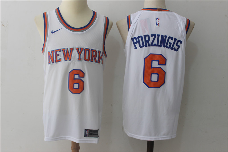 Knicks 6 Kristaps Porzingis White Nike Authentic Jersey