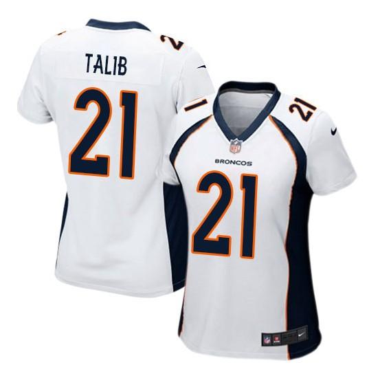 Nike Broncos 21 Aqib Talib White Women Game Jersey